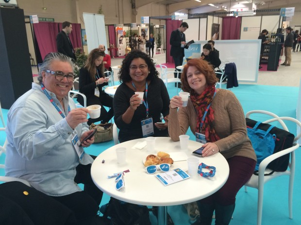 Fellow ambassadors: Charlie Arturaola, Denise Medrano and Michelle Williams at the Digital Hub, Vinisud 2016