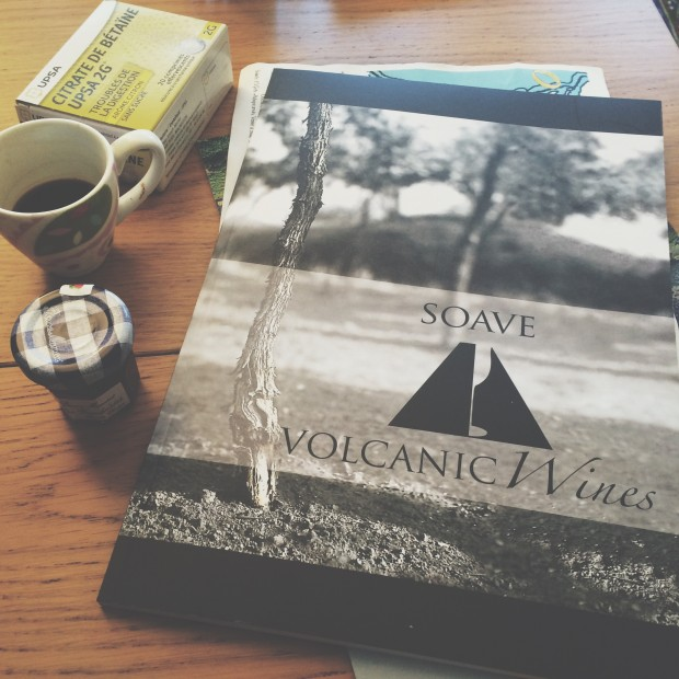 Excellent guide to volcanic soils published by Soave producers. Also some Citrate de Betraïne (one of these before bed is the key to eating so much rich food on wine trade trips! Only found in French pharmacies.)