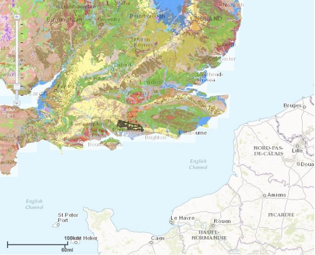 The chalk soils in Hampshire (highlighted in black)