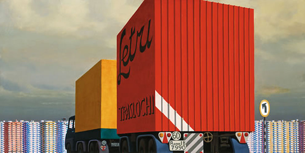 Truck and Trailer Approaching a City 1973 Jeffery Smart